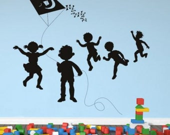Kids Flying Kite Wall Sticker Black