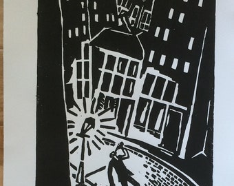 Woodcut Print: Drinking In the City