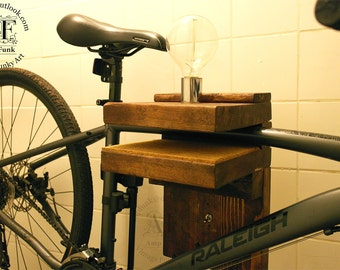 Salvage wood bike rack with light and toggle switch