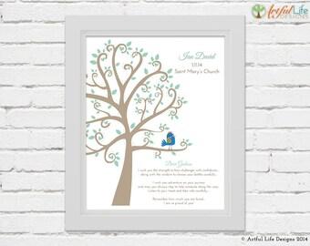 Custom Baptism Print for Godson, Personalized Godson gift, Tree, Bird, Baptism Wall Art, Christening art