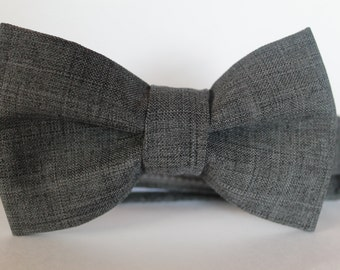 Charcoal gray bow tie, baby, boy, adjustable velcro closure