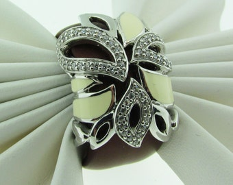 Sterling Silver and rubber collage ring by Angelique de Paris.