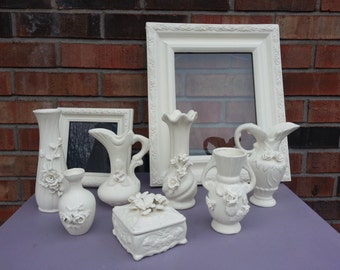 Set Of 9 Ceramic Vases And Frames With Annie Sloan Old White Paint