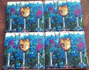 Bluebonnets and Wine, blues, golds and reds. Handmade Art Coasters, Set of 4, Travertine Tile