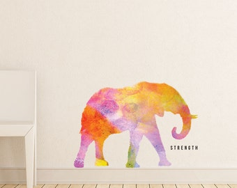 """Elephant - """"Strength"""" Watercolor Wall Decal"""