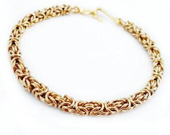 Classic Byzantine Bracelet Petite Chain Mail Gold Tone Brass - 4mm