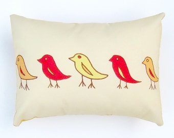 Yellow Orange Red Birds Pillow Cover 12 by 16 inch, Decorative Throw Pillow Cover, Cushion Cover, Sham