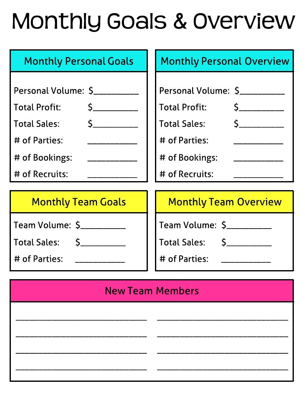 Influential image throughout monthly goals template