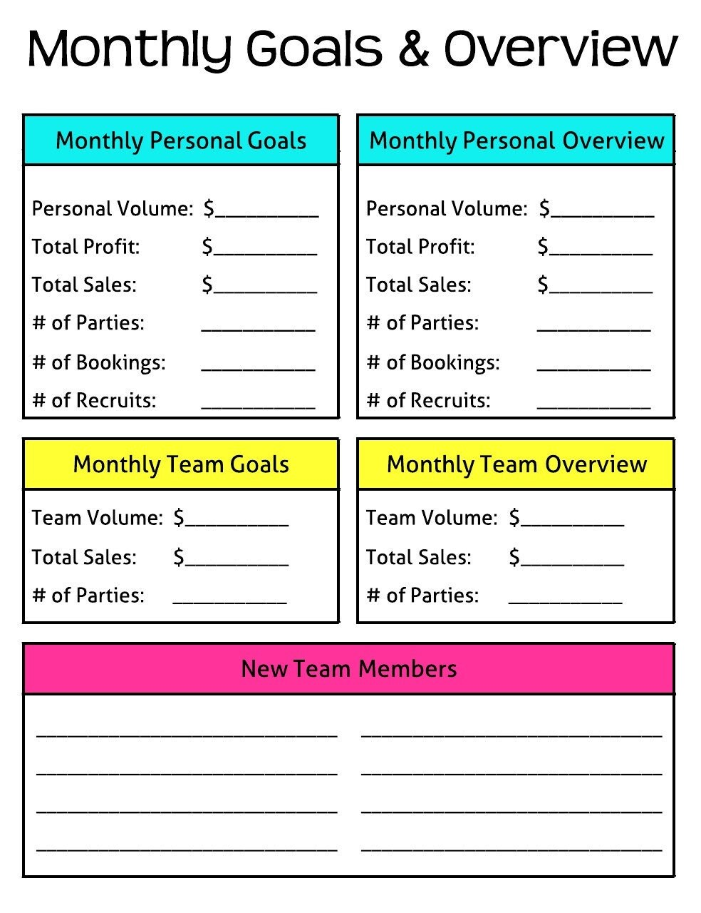 Universal image with monthly goals template