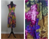90s Watercolor Halter Abstract Floral Print Painterly V-Neck Wrap Dress Pockets Sz M-L