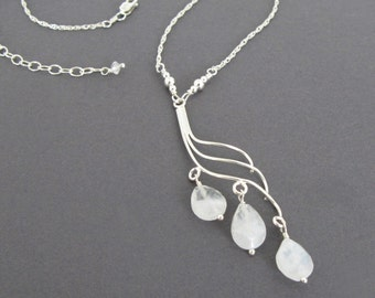 Moonstone Bridal Necklace, Unique Elegant Bridal Necklace, Pretty Handmade Sterling Silver and Moonstone Bridal Necklace, Genuine Gemstones