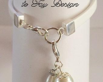 """White Nappa leather bracelet """"Snow White"""""""