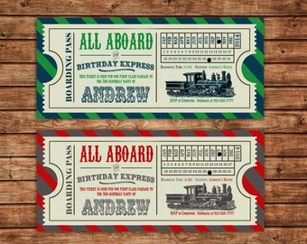 Vintage Train Invitation | Birthday, Boy, Ticket, Boarding Pass, Blue/Green or Red/Gray | Printable