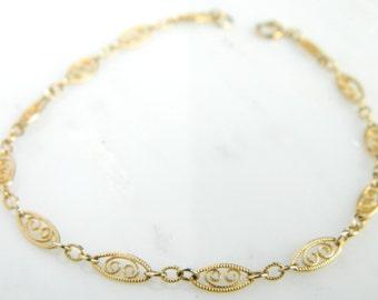 Vintage Filigree 14K Gold Link Bracelet