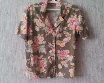 Vintage women shirt 1990s Flowers Blouse Papagallo clothing industry Made in SRI LANKA