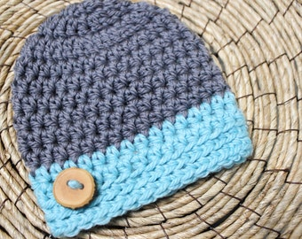 Newborn Baby Boy Hat-Luxury Merino Cashmere Photo Prop Hat in Gray/Grey and Robin's Egg/Aqua Blue--from the Baby Boy Collection