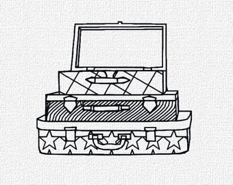 Suitcases Redwork Machine Embroidery Design Pattern Download 4x4 Modern Machine Embroidery Pattern