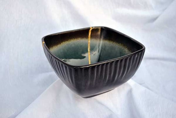 "Solar Flare Blue  Deep 5""  Kintsugi Bowl  Mended with a Gold Seam"