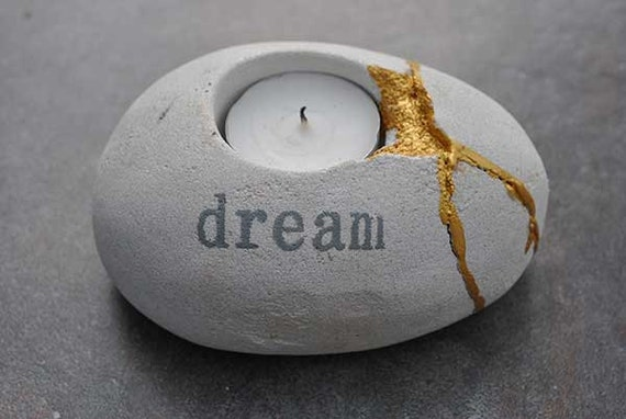 Dreams Can Be Mended Tea Light Kintsugi Candle Holder with Gold Seams