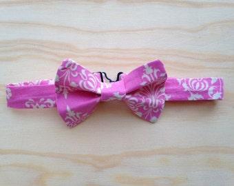Pink damask bowtie