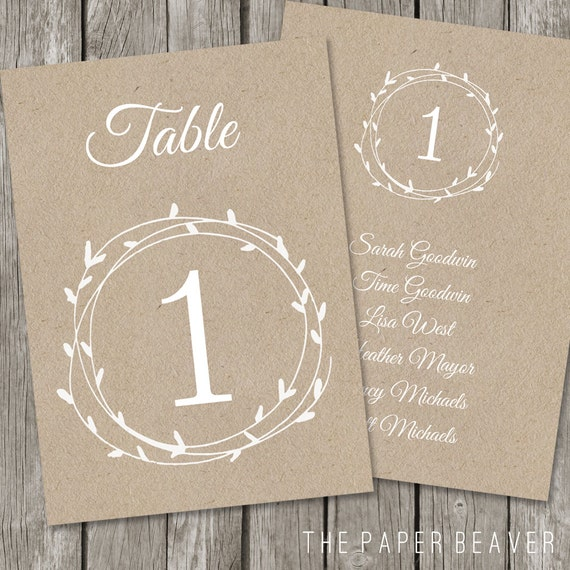 Printable table number for weddings diy kraft rustic for Table numbers template for weddings