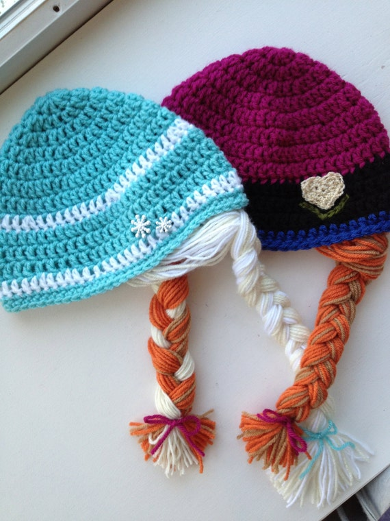 Baby Sized Crochet Anna And Elsa Hatphoto By