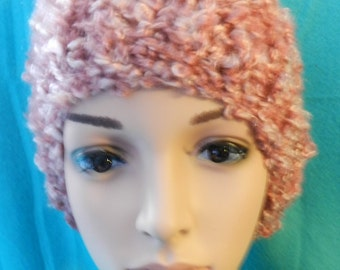 Rose Light and Lofty Chunky Knitted Slouchy Bulky Hat  ET 9092021