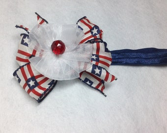 Patriotic Head Band/Bow for your little Princess.