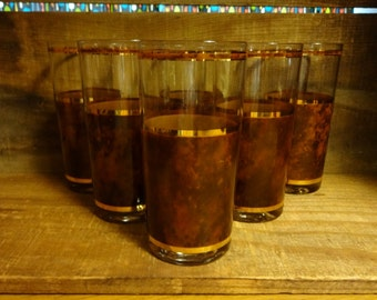 Set of 6 1960s vintage brown and gold glasses