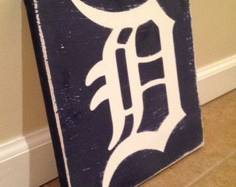 "Detroit ""D"" sign - wood wall art"