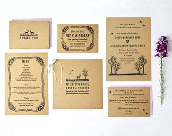 DIY Customisable and Printable Wedding Stationery Set - save the date, invite, RSVP card, order of service, menu, thank you card