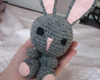 Stuffed/Amigurumi Bunny with Fluffy Tail, Grey and Pink