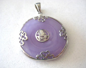 sterling silver 925 purple Oriental Asian circle Pendant