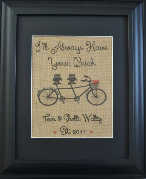Owls on a Bicycle Burlap Print