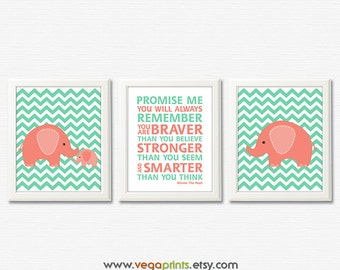 Mint and coral elephant nursery art print -UNFRAMED- baby boy wall art, winnie the pooh quote, promise me, remember, stronger