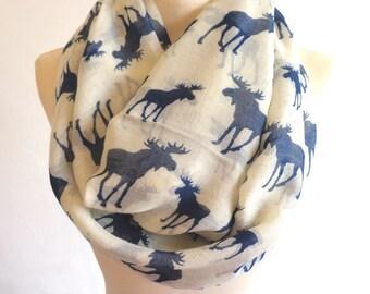 Print infinity scarf, circle scarf, moose scarf, print scarf women, loop scarf, cute scarf