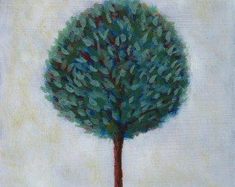 Shining tree, 21 x 19 cm small painting, original oil painting