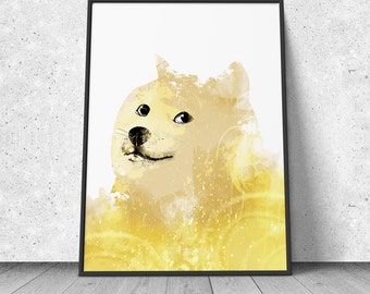 Doge, Meme poster, watercolor illustration, giclee art print, wall decor