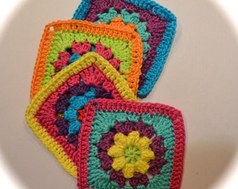 Crochet pattern granny square flower by littleduckcompany
