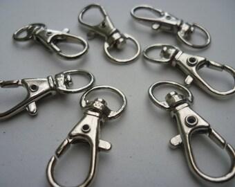 50 Lobster Swivel Clasps for Key Ring Silver Tone - 3.2cm x 1.3cm - FD62S