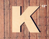 """Unfinished 12"""" Decorative Wooden Letter K / 12"""" Inch Capital K / Uppercase Alphabet Photo Prop / Nursery Wall Craft / Baltic Birch Wood"""