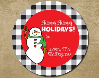 Personalized Christmas Stickers, Christmas Gift Labels, Christmas Gift Labels, Gingham Holiday Labels, Snowman Holiday Stickers