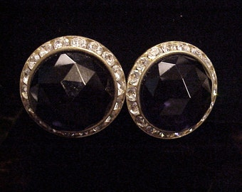 Black Rhinestone Clip Earrings