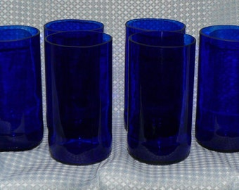 Recycled blue beer bottle drinking glasses