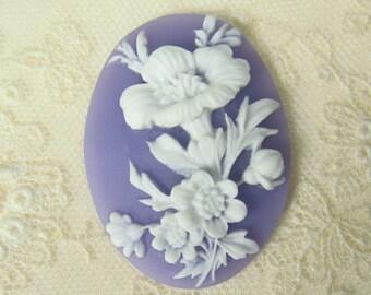 Purple Resin 40x30 Flower Cameo 15-113-purple