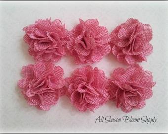 "Set of 3  Mini Burlap Flowers, Pink, Fabric Flower, Rosettes, DIY, Hair Accessories, Baby Headbands, 2"""
