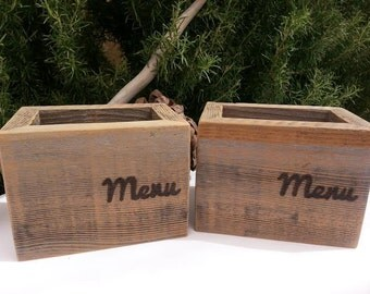 Wooden Menu Holder Box Two (2) Rustic Restaurant Deli Reclaimed Upcycled Wood  Shabby Chic Cottage