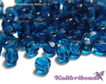 Fire polished Czech Glass Beads 4 mm - Bluette
