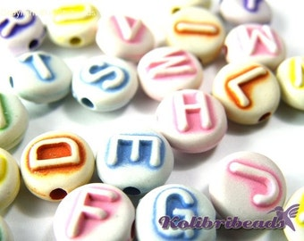 100x Mixed Round Acrylic Alphabet Beads, A- Z Letter Beads 10mm - Mixed Colours