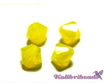 20x Czech Crystal Bicone Beads 6 mm - Citrine Opal
